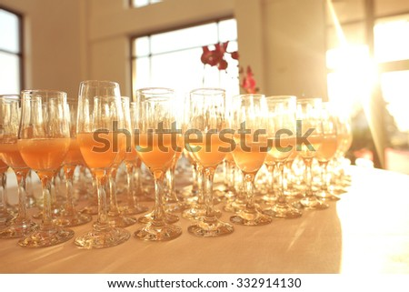 Many glasses of champagne - stock photo