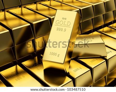 Many Gold bars - stock photo
