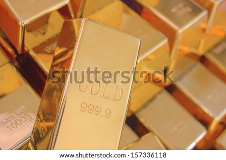 Many Gold Bars or Ingot - stock photo