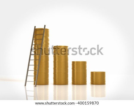 Many gold coin and ladder icon.3D rendering