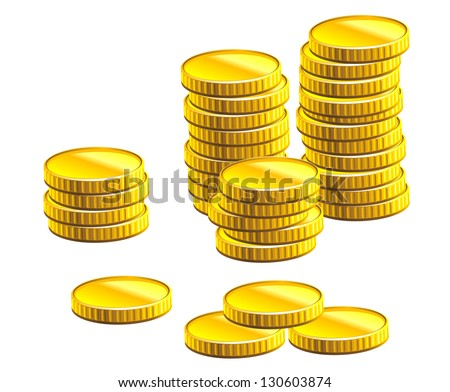 Many gold coins isolated on white background for business and economic concepts design. Vector version also available in gallery - stock photo