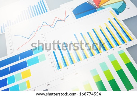 Many graphs. Analyzing finances.  - stock photo