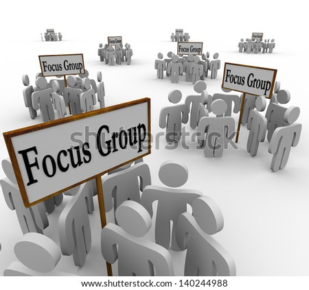 Many groups of customers representing several distinct demographics gathered in meetings around signs reading Focus Group - stock photo