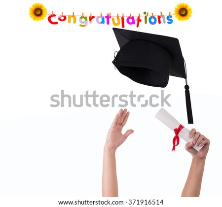 Many hand holding graduation hats on background of White. And the message, Congratulations! - stock photo
