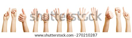 Many hands and fists doing different hand gestures