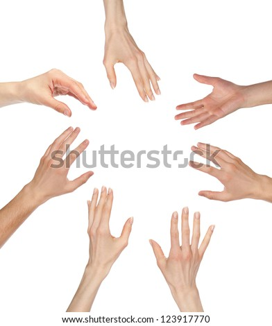 Many hands asking for something reaching out to the center of image - copyspace, you can add your text or picture; isolated over white background - stock photo