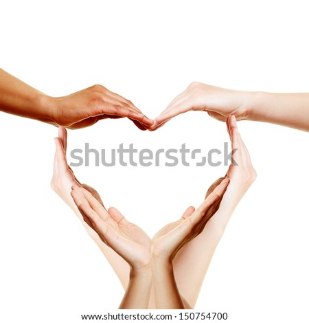 Many hands forming a big love heart - stock photo