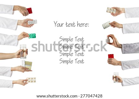 Many hands holding different drugs and pills isolated on white background. Copy space - stock photo