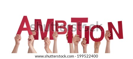 Many Hands Holding the Red Word Ambition, Isolated - stock photo