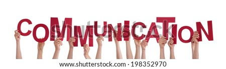 Many Hands Holding the Red Word Communication, Isolated - stock photo