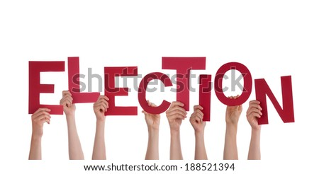 Many Hands Holding the Red Word Election, Isolated - stock photo
