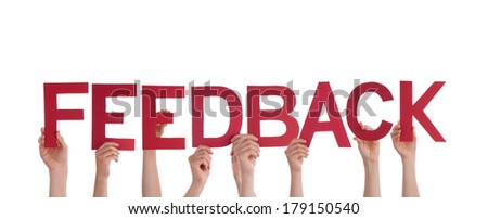 Many Hands Holding the Red Word Feedback, Isolated - stock photo