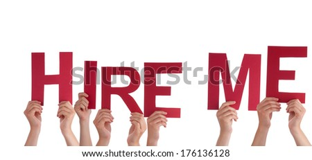 Many Hands Holding the Red Words Hire Me, Isolated - stock photo