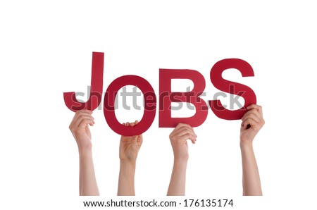 Many Hands Holding the Word Jobs, Isolated - stock photo