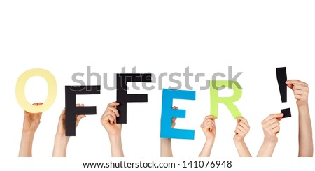 many hands holding the word offer, isolated - stock photo
