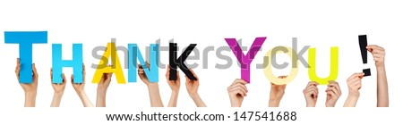 many hands holding the words thank you - stock photo