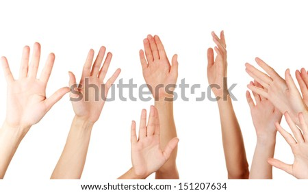 Many hands of participation isolated on white