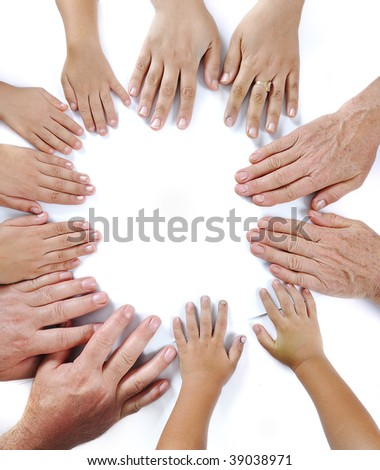 Many hands on white