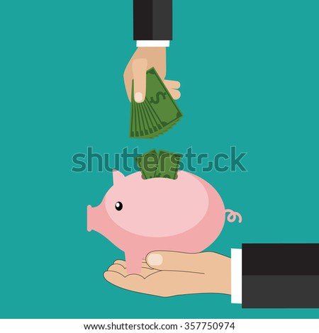 Many hands putting coin and money into a piggy  - stock photo