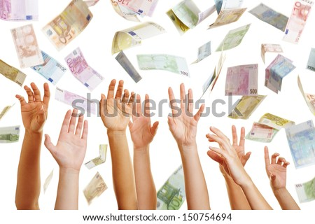 Many hands reaching for Euro money flying in the air