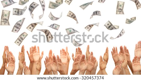 Many hands reaching out for money, isolated on white - stock photo