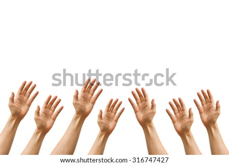 Many hands reaching out isolated