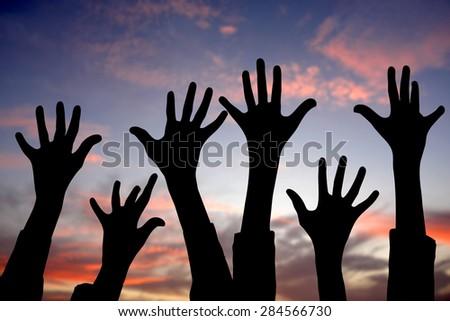 Many hands up - stock photo
