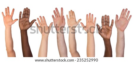 Many hands up isolated on white background