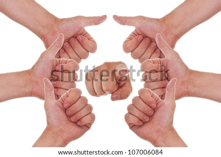 many hands with thumbs up making a circle and a finger point to you - stock photo