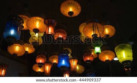 many hanging colourful lamp