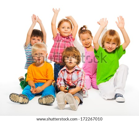 Many happy kids 3-4 years old sitting isolate on white - stock photo