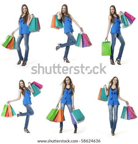 many happy shopping girl full body, collage - stock photo