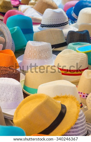 Many Hats of all colors for summer
