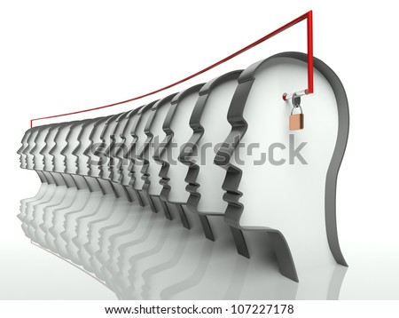 Many heads connected, concept of unity and teamwork - stock photo