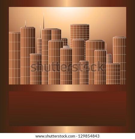 many high skyscrapers in brown metal frame