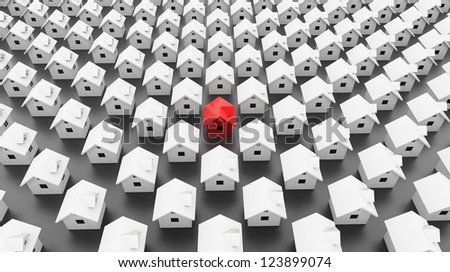 Many houses one is red - stock photo