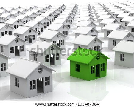 Many houses Real Estate Concept - stock photo