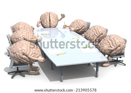 many human brains meeting around the table and follow their boss. 3d illustration. - stock photo