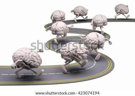 many human brains that runs in the street, 3d illustration - stock photo