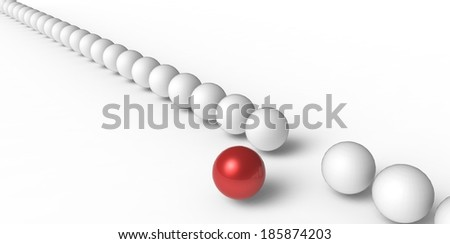 Many identical 3d spheres and only one different
