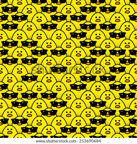 Many Identical Yellow Chicks Staring at camera with some Randomly wearing Cool Black Sunglasses - Raster - stock photo
