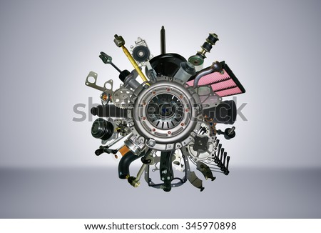Many images of spare parts for the passenger car. - stock photo