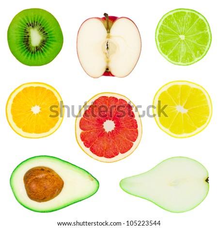 Many isolated fruit on white background - stock photo