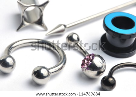 Many jewelry for the piercing - stock photo