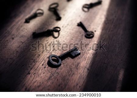 Many keys in the dark. Security and encryption, concept image.  - stock photo