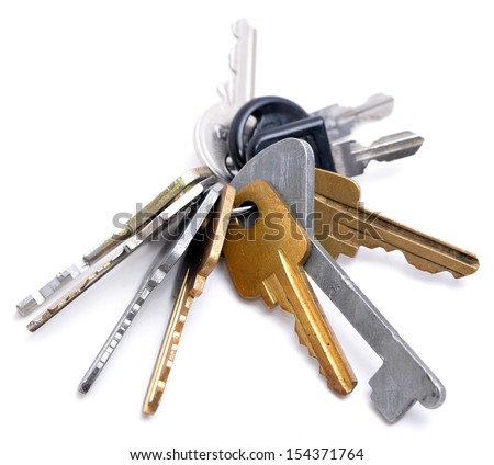 Many keys on white background - stock photo