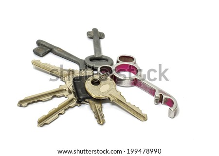 Many keys on white background