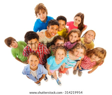 Many kids view from above smile and happy - stock photo