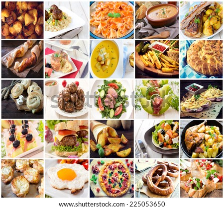 Many kind of different food photos in one - stock photo