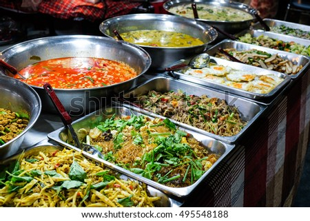 Many kind of Thai food sell in street market , Thailand